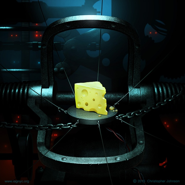 Illustration of a wedge of cheese set as bait in complicated trap-like machinery, with misty, shadowy sci-fi environment.