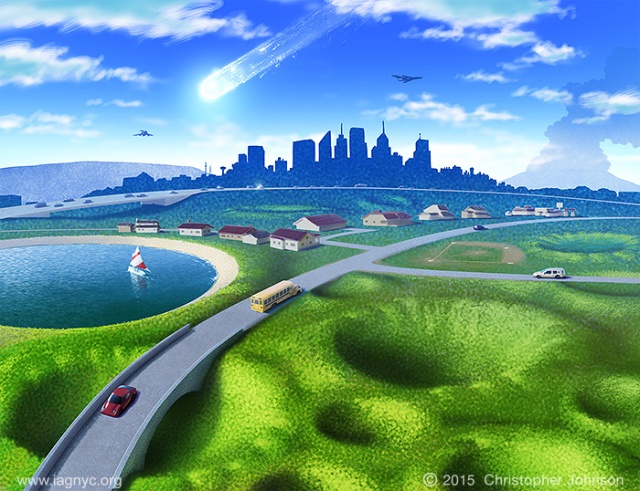Artwork depicting roads, houses, and towns built upon a landscape pockmarked with overgrown, grass-covered craters. In the distance there is a meteor streaking across the sky.