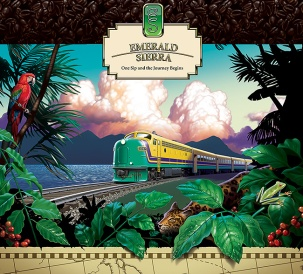 Poster art for Emerald Sierra Coffee; image of train in tropical setting. Digital artwork by Christopher Johnson.
