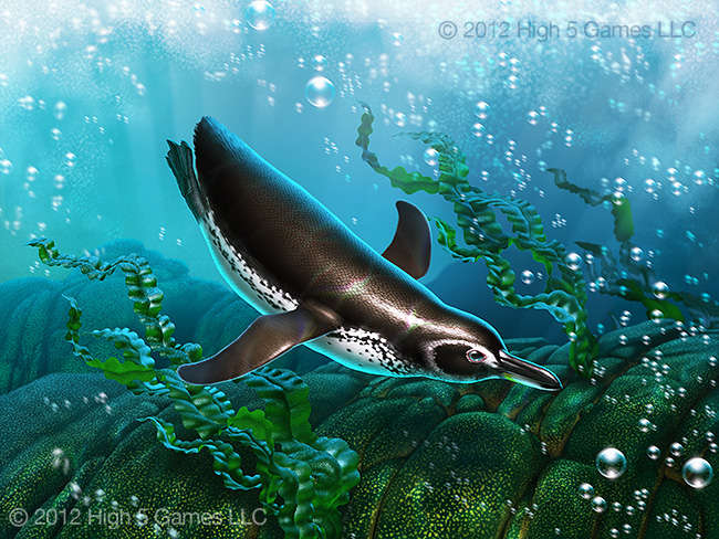 Illustration of Galapagos Penguin underwater. Digital artwork by Christopher Johnson.