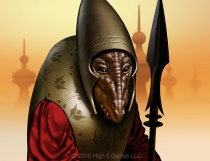 Illustration of alien / Martian, in armor. Digital artwork by Christopher Johnson.