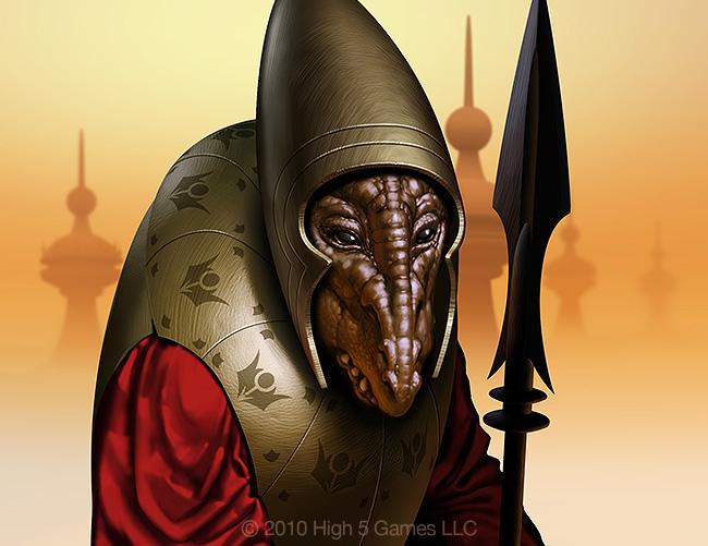 Illustration of alien / Martian, in armor. Digital artwork by Christopher Johnson.