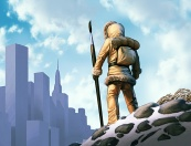 Illustration of neolithic hunter with spear-sized paintbrush, looking towards distant city. Digital artwork by Christopher Johnson.