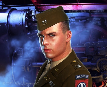 Illustration of a U.S. Army soldier, WWII era uniform, with steam locomotive detail background. Digital artwork by Christopher Johnson.