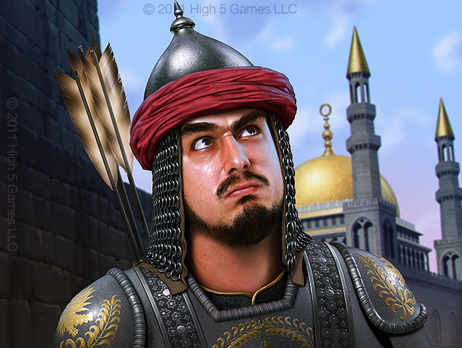 Illustration of a soldier in middle eastern-styled armor. Digital artwork by Christopher Johnson.