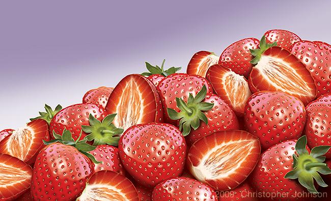 Illustration of a mound of strawberries. Digital artwork by Christopher Johnson.