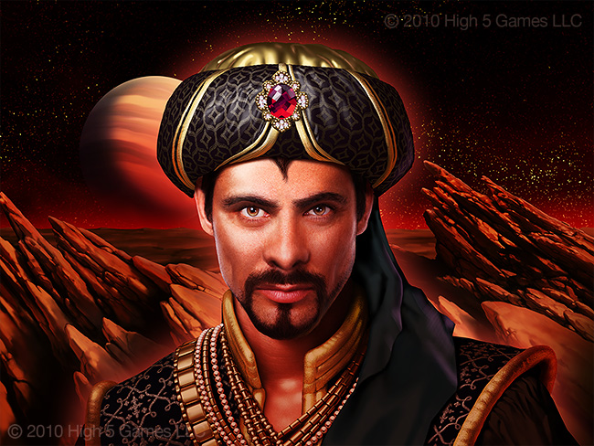 Image of man in decorative middle eastern attire, exotic Mars background. Digital artwork by Christopher Johnson.
