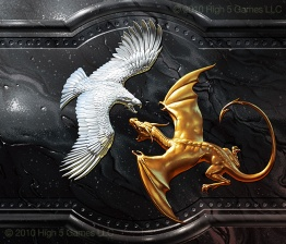 Art depicting wall relief, silver eagle battling gold dragon. Digital artwork by Christopher Johnson.
