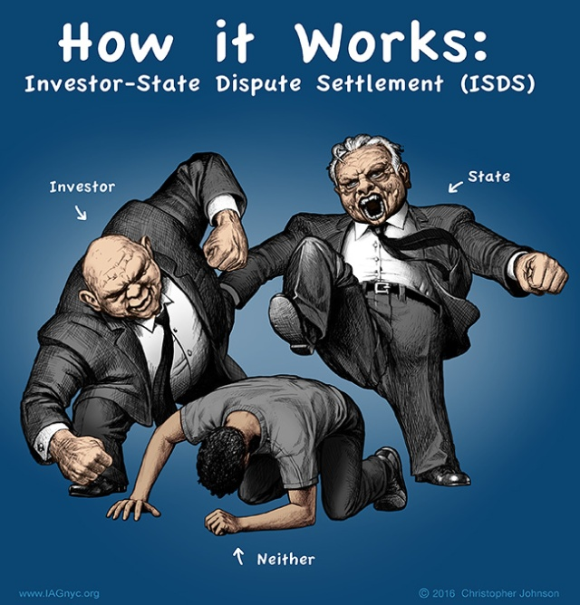 "Cartoon art. Headline text-- ""How it Works: Investor-State Dispute Settlement (ISDS)"