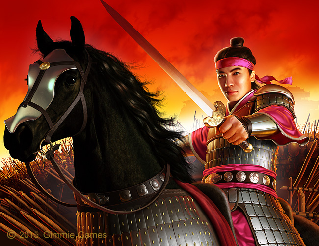Fantasy art of Chinese Emperor Shun on horseback, sword raised.