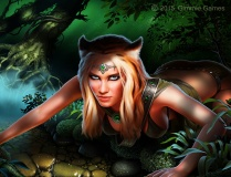 illustration of an attractive woman with tiger ears, fierce expression, fantasy attire; in a jungle environment